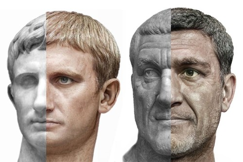 Split-screen of of two Roman emperors. One half shows a bust the other, a photoreal portrait.